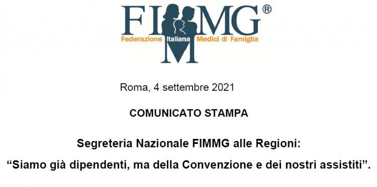 Comunicato stampa Segreteria nazionale FIMMG